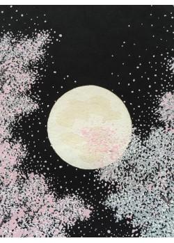 Kato Teruhide shin hanga Cerisiers en fleurs un soir de pleine lune